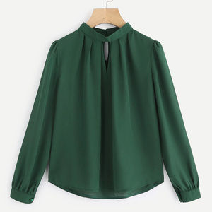Tops - V Cut Pleated Front Blouse